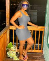 Solid Sleeveless Slim Mini Dress OMY-0011