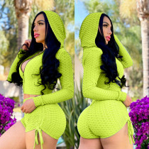 Solid Hooded Zipper Long Sleeve Two Piece Shorts Set LSL-6421