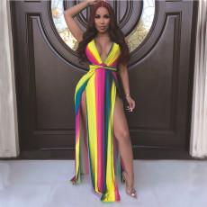 Rainbow Stripe V Neck High Split Sleeveless Maxi Dress DAI-8165