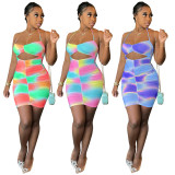 Sexy Printed Strappy Ruched Bodycon Mini Dress DMF-8168