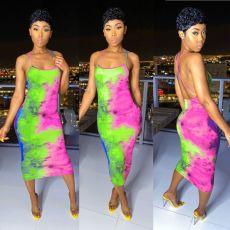 Sexy Tie Dye Print Backless Cross Strap Midi Dress BGN-BN058-1