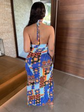 Sexy Printed Wrap Chest High Split Skirt 2 Piece Sets APLF-5036