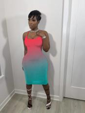 Fashion Sling Gradient Midi Dress WSM-5241
