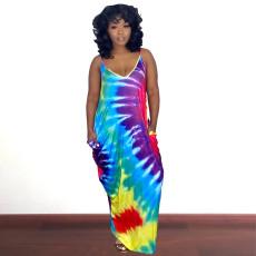 Tie Dye Print Sleeveless Strap Maxi Dress QZX-6197