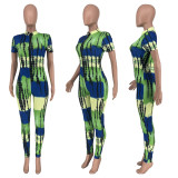 Casual Printed Zipper Short Sleeve Jumpsuit ZNF-9052