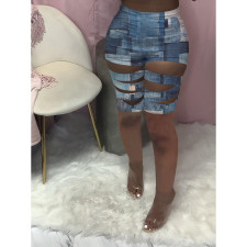 Sexy Printed Hollow Out Skinny Shorts YSYF-7501