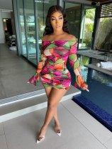 Fashion Off Shoulder Ruffled Sleeve Ruched Print Dress APLF-1001