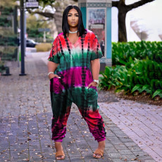Casual Loose Printed V Neck Jumpsuit JPF-1033