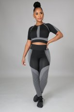 Fitness Yoga Printed Short Sleeve High Waist 2 Piece Sets LSD-9127