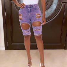Denim Ripped Hole Skinny Jeans Shorts LSD-6005