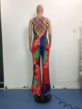 Plus Size Tie Dye Backless Cross Strap Flared Jumpsuit YUHF-8073