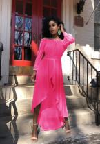 Chiffon Slash Neck Irrgular Long Sleeve Maxi Dress LS-0345