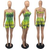 Sexy Tie Dye Printed Hollow Backless Romper IV-8211