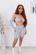 Sexy Long Sleeve Lace Up Two Piece Shorts Set LX-6891