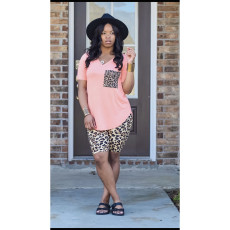 Leopard Print V Neck T Shirts Shorts 2 Piece Suits ABF-6656