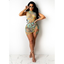 Sexy Mesh Printed Bodysuit+Lace Up Mini Skirt 2 Piece Sets YIY-5278
