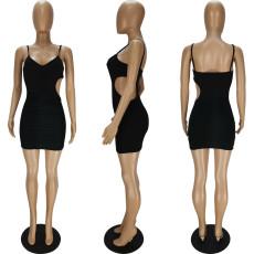 Sexy Black Spaghetti Strap Ruched Mini Dress QMF-7039
