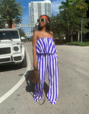 Sexy Striped Tube Top And Pants 2 Piece Sets YBSF-6689
