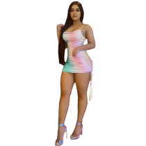 Sexy Gradient Spaghetti Strap Mini Dress AYF-5004