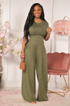 Casual Solid Short Sleeve Wide Leg Pants Set YD-8381