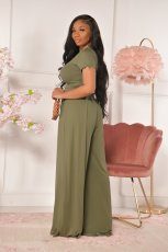 Casual Solid Short Sleeve Wide Leg Pants Set YD-8381