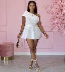 White One Shoulder Sleeveless Mini Dress XYMF-8061