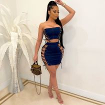 Sexy Denim Lace Up Tube Top Mini Skirt 2 Piece Sets YIS-752