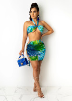 Sexy Printed Halter Top Lace Up Mini Skirt 2 Piece Sets ARM-8266