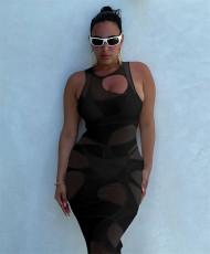 Sexy Sleeveless Bodycon Midi Dress FENF-120