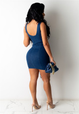 Denim Lace Up Sleeveless Mini Dress LA-3269