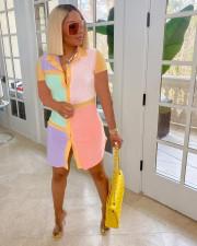 Plus Size Contrast Color Short Sleeve Shirt Dress LP-6288