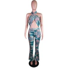 Paisely Print Halter Backless Flare Jumpsuit MK-3052