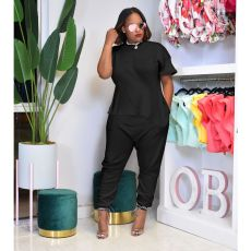 Casual Solid Short Sleeve Long Pants 2 Piece Sets ABF-6670