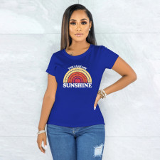 Printed Simple Short Sleeve Blue T-shirt YNB-7169