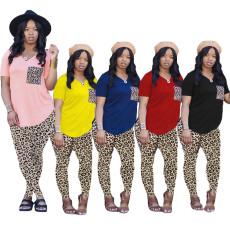 Plus Size Leopard V Neck Short Sleeve 2 Piece Pant Sets ABF-6666