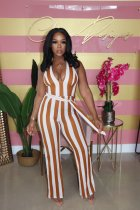 Sexy Striped Halter Backless Sashes Jumpsuit XMF-057