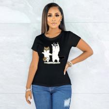 Printed Fashion Short Sleeve Black T-shirt YNB-7166