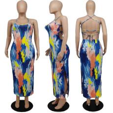 Sexy Tie Dye Strappy Backless Split Maxi Dress APLF-5039
