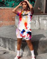 Tie Dye Letter Print Short Sleeve 2 Piece Suits WSM-2014