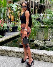 Mesh Printed Ruched Bodycon Midi Skirt YM-9288