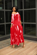 Tie Dye Casual Loose Pocket Maxi Dress RUF-8923
