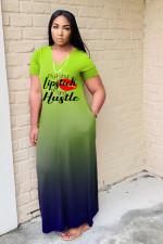Plus Size Gradient Letter Print Maxi Dress WAF-7176