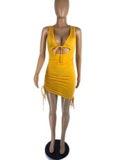 Sexy Sleeveless Hollow Ruched Club Dress AIBF-6635