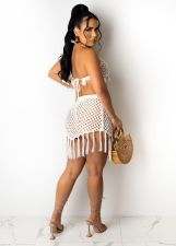 Sexy Grid Tassel Backless Mini Skirt Beach Sets TR-1139
