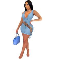 Fashion Sexy Solid Color Sleeveless Bandage Mini Dress MNSF-8234