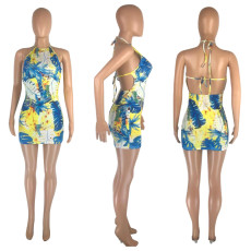 Sexy Print Halter Mini Dress MNSF-8203