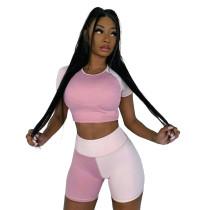 Color Block Sports Casual Short Sleeve Shorts 2 Piece Sets MNAF-8086