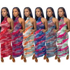Sexy Mesh Printed Sleeveless Maxi Dress NIK-235