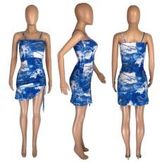 Sexy Print Spaghetti Strap Mini Dress MNSF-8232