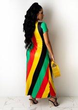 Plus Size Sexy Striped High Split Maxi Dress OM-1217
